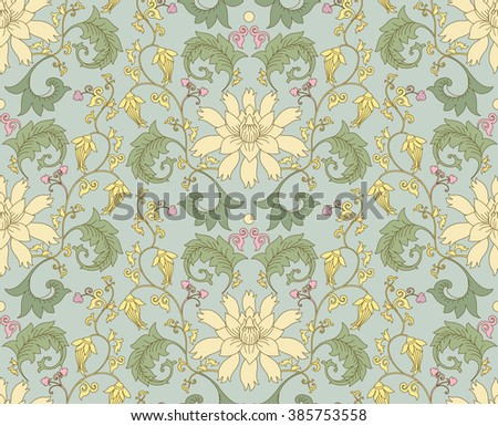 Chinese pattern with lotus flowers. Seamless vector ornaments in traditional style. National ornamental motives. - stock vector