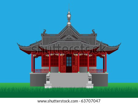 Chinese pavilion - stock vector