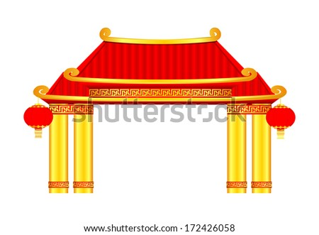 Chinese Temple Vector Chinese Pavilion Arch Vector