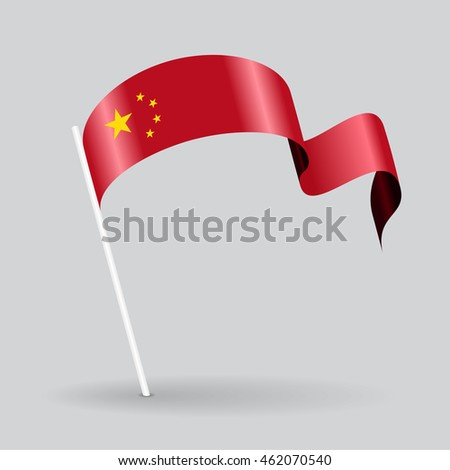 Chinese pin icon wavy flag. Vector illustration.