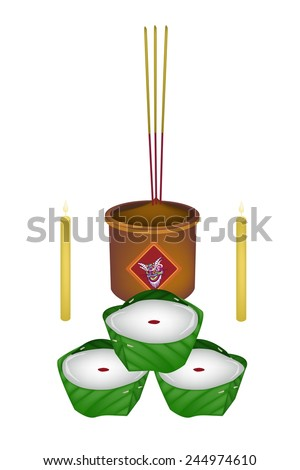 Chinese Pudding or Chinese Sweetmeat Made with Joss Sticks and Burning Candles for Pay Respect to God in Chinese New Year.  - stock vector