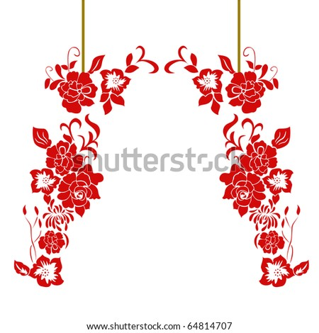 Chinese red paper-cut. - stock vector