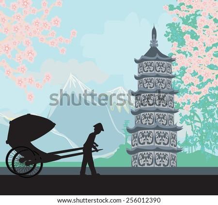 Chinese rickshaw - stock vector