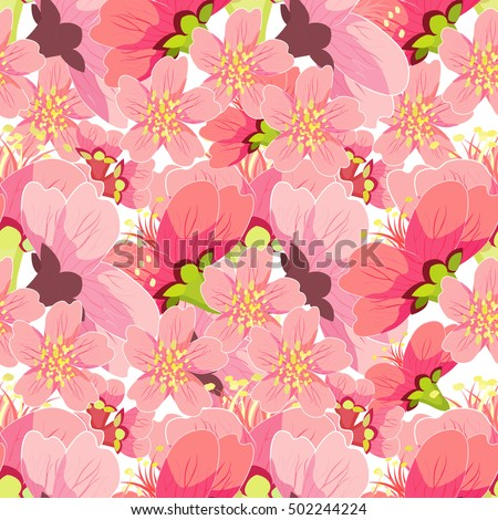 Chinese seamless pattern of blossoming cherries vector illustration