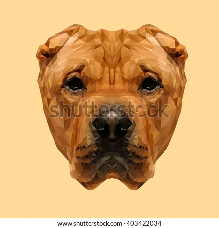 Chinese Shar-Pei  dog animal low poly design. Triangle vector illustration. - stock vector