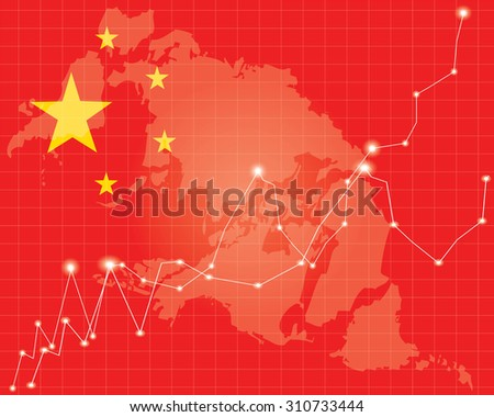 Chinese Stock Market - Red  on Chinese Flag - stock vector