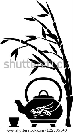 Chinese tea, teapot, cup and bamboo, black pattern - stock vector