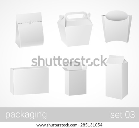 Chinese thai food and drink plastic and carton cardboard package set. Blank white packaging objects isolated on white vector illustration. - stock vector