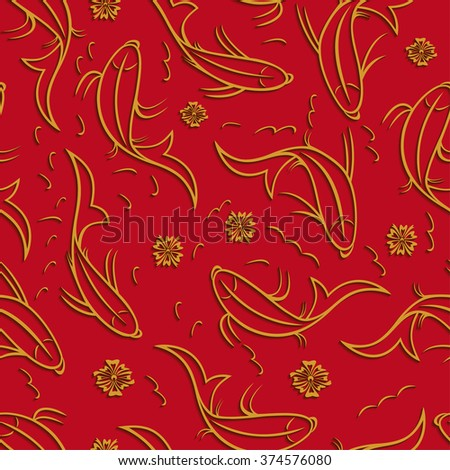 Chinese vector seamless pattern with ornamental fish. Golden fish contours with shadow on a red background. - stock vector