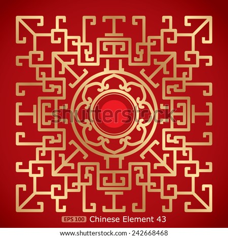 Chinese Vintage Dragon and lotus Elements on classic red background - stock vector