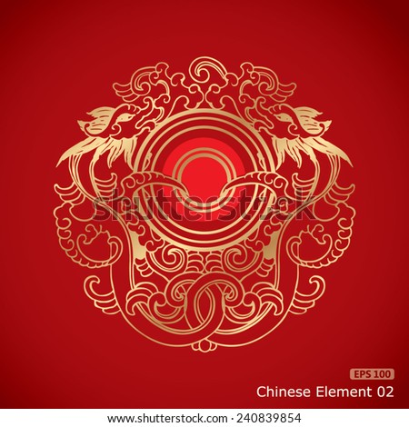 Chinese Vintage Dragon Elements on classic red background - stock vector