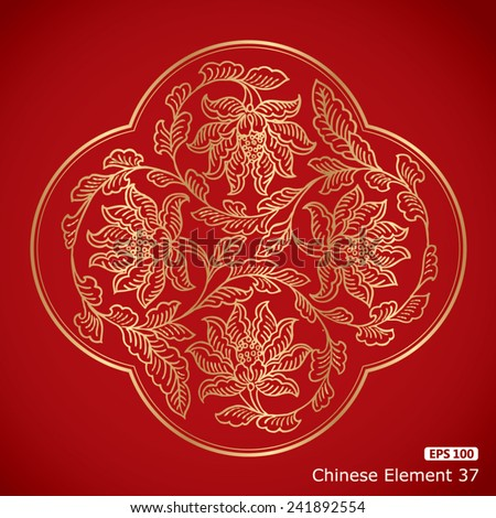 Chinese Vintage flower Elements on classic red background - stock vector