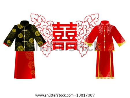 chinese wedding clothes man and girl