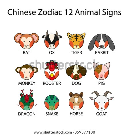 Chinese Zodiac 12 Animal Signs Vector Illustration - stock vector