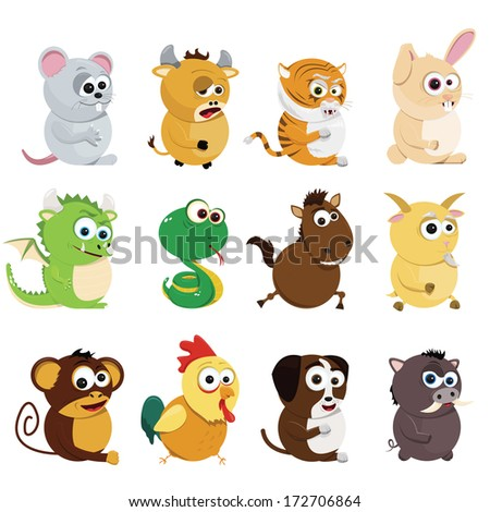 Chinese zodiac animals - stock vector