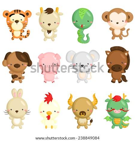 Chinese Zodiac Animals - stock vector