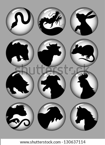 Chinese Zodiac Black and White. Animal silhouette icons with circle gradation background. Easy to use because each item is a group. - stock vector