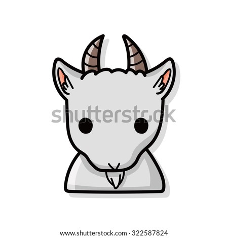 Chinese Zodiac goat doodle - stock vector