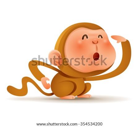 Chinese Zodiac - Monkey. Chinese New Year. - stock vector