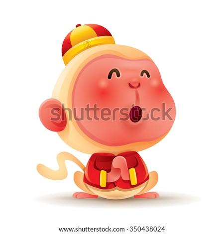 Chinese Zodiac - Monkey. Chinese New Year. Gong xi Gong xi. - stock vector