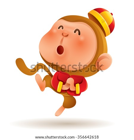 Chinese Zodiac - Monkey. Chinese New Year. Gong xi Gong xi.  - stock vector