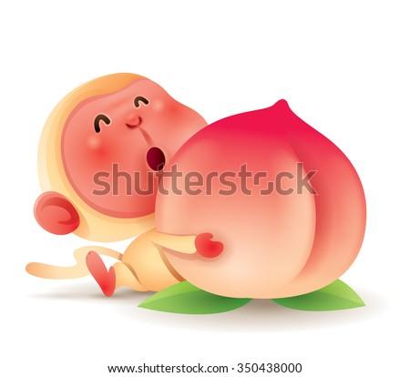 Chinese Zodiac - Monkey. Chinese New Year. Monkey holding a peach. - stock vector