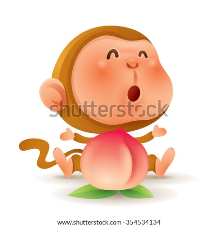 Chinese Zodiac - Monkey. Chinese New Year. Monkey with a peach. - stock vector