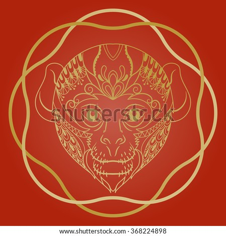 chinese new year 2016 zentangle animalvector illustration - Chinese New Year 2016 Animal