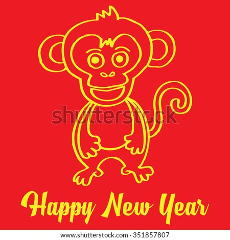 Chinese Zodiac monkey doodle or monkey drawing or monkey sketch for Chinese new year
