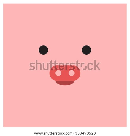 Chinese zodiac pig face - stock vector