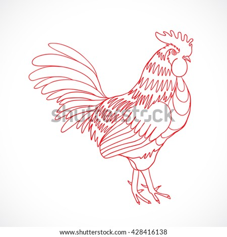 Chinese zodiac rooster design element for Chinese New Year decoration. Image of a hand drawing cock or rooster with red outline on grey background. Drawing for coloring. Vector. - stock vector
