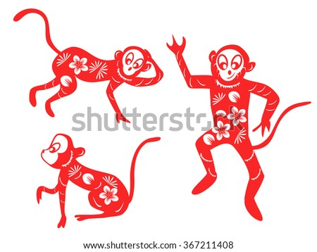 Chinese Zodiac set - 2016 Chinese Monkeys New Year - stock vector