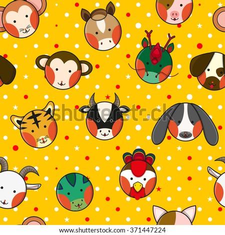 Chinese Zodiac Yellow Gold Polka Dot Background Vector Illustration - stock vector