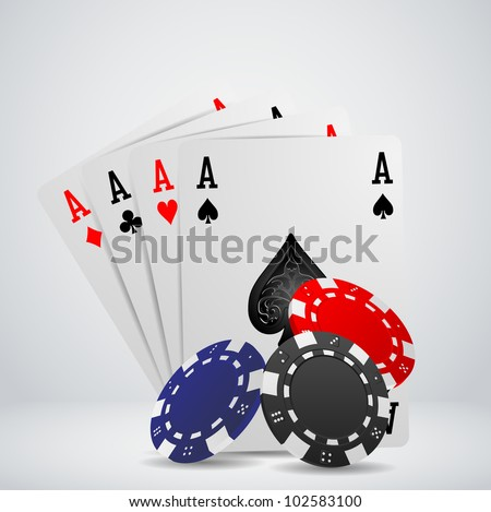 Chip and cards for poker, casino - stock vector
