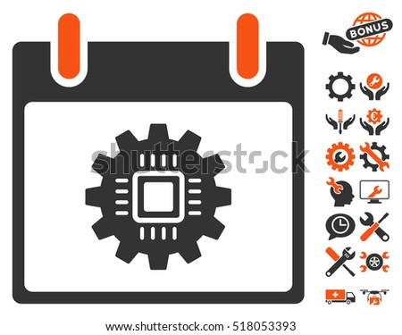 Chip Gear Calendar Day pictograph with bonus tools design elements. Vector illustration style is flat iconic symbols, orange and gray, white background.
