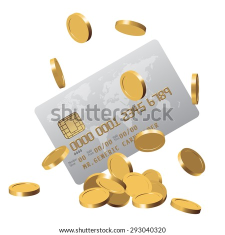 Chipped credit card with a world map on it and a bunch of golden impersonated coins falling over white as a symbol of wealth - stock vector