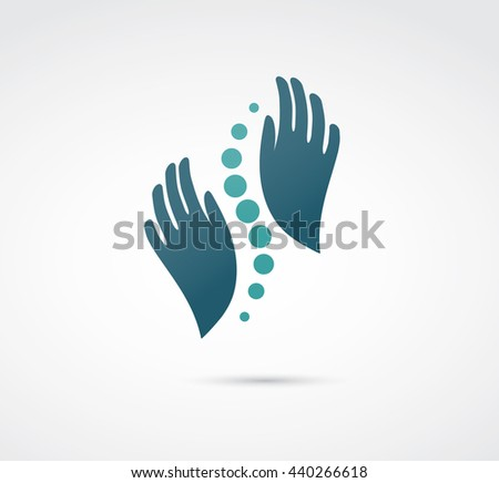 Chiropractic, massage, back pain and osteopathy icon - stock vector