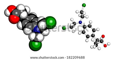 Chlorambucil leukemia drug molecule. Nitrogen mustard alkylating agent mainly used to treat chronic lymphocytic leukemia (CML). Atoms are represented as spheres with conventional color coding. - stock vector