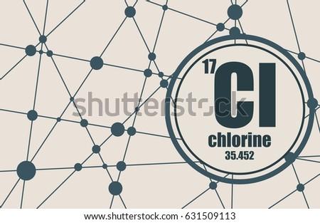 Chlorine chemical element sign atomic number stock vector chlorine chemical element sign with atomic number and atomic weight chemical element of periodic urtaz Choice Image