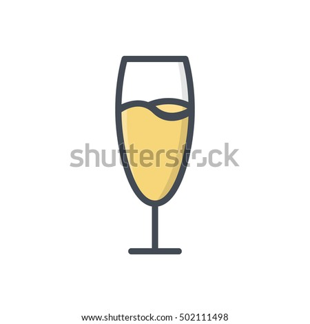 Chmpagne Glass Food Drink Alcohol Beverage Icon Colored