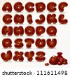Chocolate Alphabet. Vector Cartoon Font - stock vector