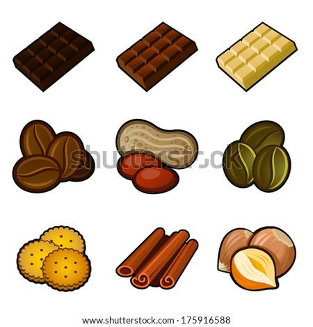 Chocolate and coffee icon set - stock vector