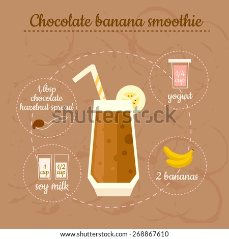 Chocolate banana smoothie recipe. Menu element for cafe or restaurant with energetic fresh drink. Fresh juice for healthy life. - stock vector