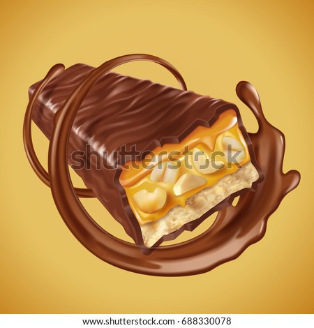 Chocolate bar element, sweet chocolate bar with nuts and caramel fillings, chocolate sauce swirling in 3d illustration