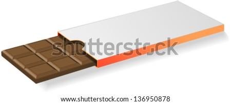 Chocolate bar in blank package to put custom text or label on it. - stock vector
