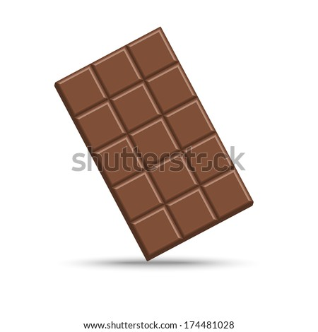 Chocolate bar isolated on white, vector illustration - stock vector
