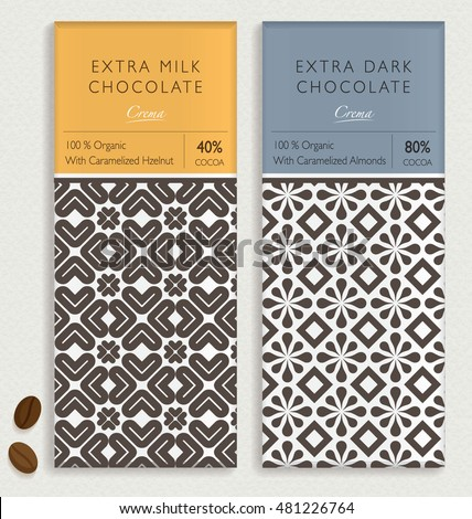 CHOCOLATE BAR PACKAGING MOCK UP. Vector seamless pattern design element. labels and background in trendy style