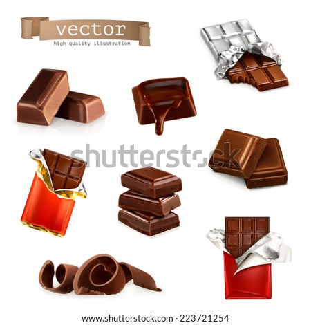 Chocolate bars and pieces, vector set - stock vector