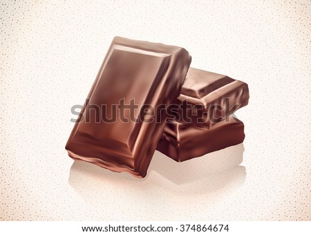 Chocolate blocks stack on white background. Gradient Mesh. EPS10.  - stock vector