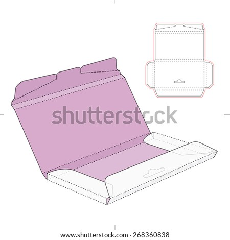 Chocolate Box with Die Cut Template - stock vector